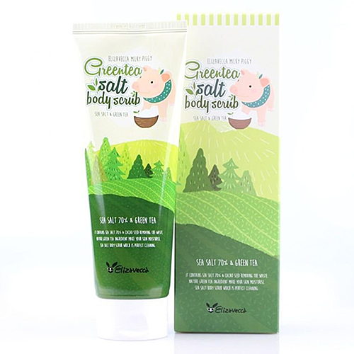 Скраб для тела с экстрактом зеленого чая Green tea salt body scrub, Elizavecca