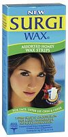 Полоски с воском для удаления на лице Assorted Honey Facical Wax Strips, Surgi Wax